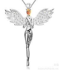 Charming necklace angel wing Pendant Necklace with full crystal