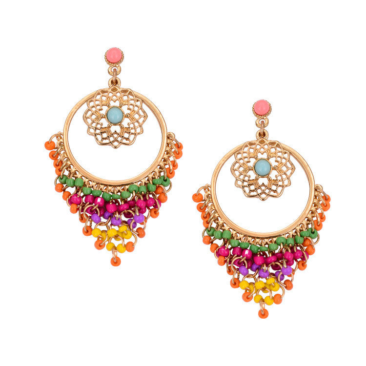 Colorful Austrian Crystal Popular Vintage Bohemian Big Earrings For