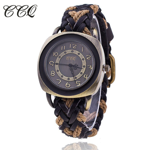 CCQ Vintage Leather Strap Watch High Quality Antique Braided Watch