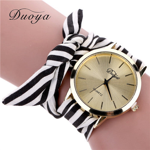 Duoya 2016 Vintage Stripe Fabric Cloth Watch Women Ladies Bracelet