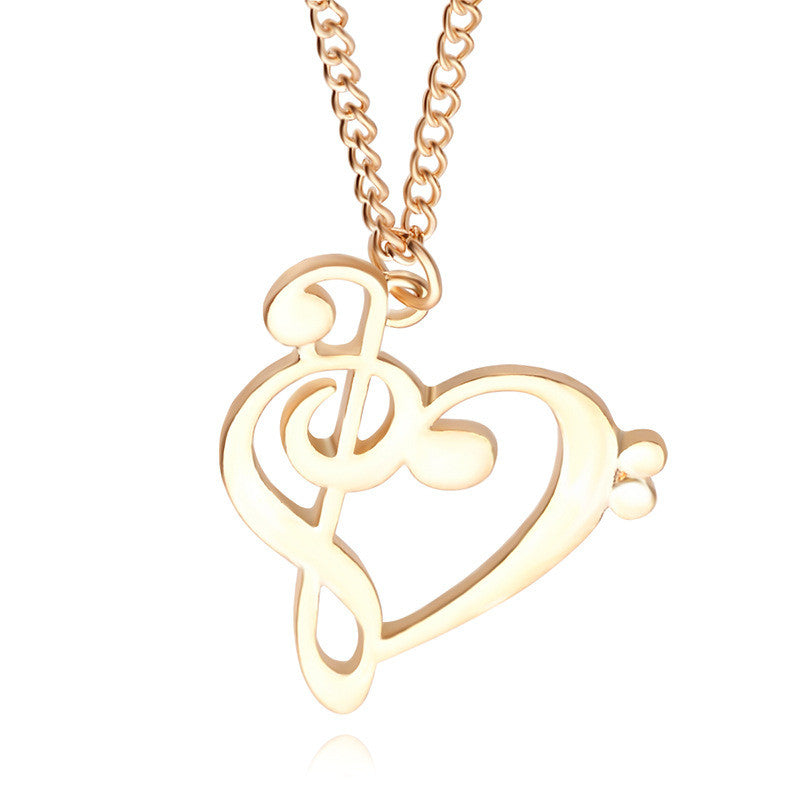 Minimalist Simple Fashion Hollow Heart Shaped Musical Note Pendant