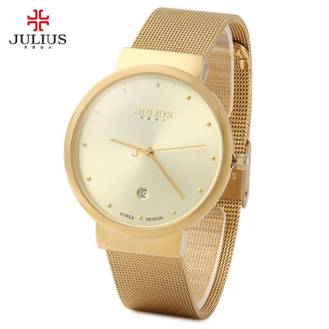 Top Watches Men Luxury Julius Brand Men's Watches Stainless Steel Analog Display Quartz Men Wrist watch Ultra Thin Dial Relogio