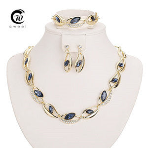 CWEEL New African Beads Jewelry Sets For Women Party Gold Plated