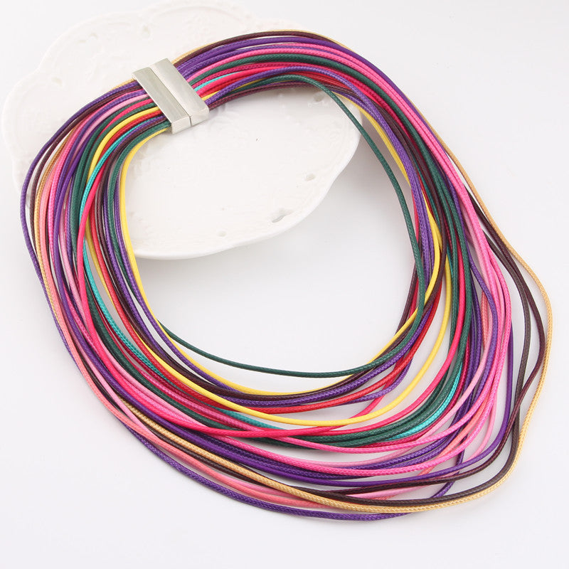 Hot Fashion Women Multicolor Necklace Multilayer Rope Bohemia