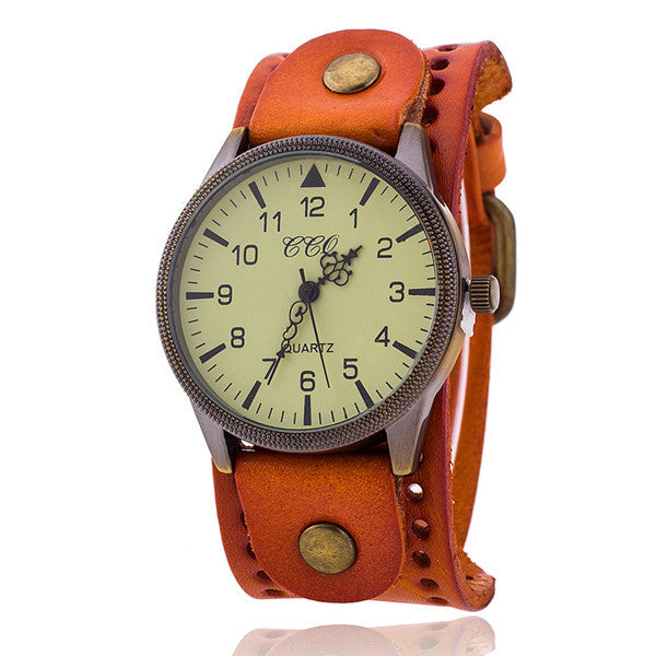 CCQ Vintage Cow Leather Bracelet Watch High Quality Antique Women