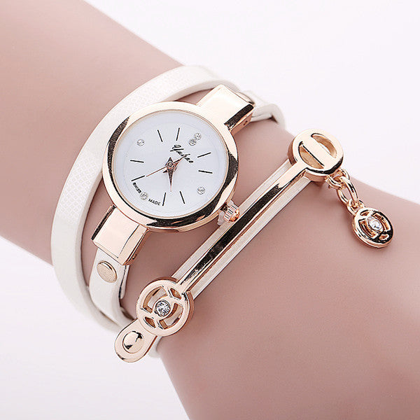 CCQ Hot Women Long Leather Bracelet Watches Gold Fashion Quartz