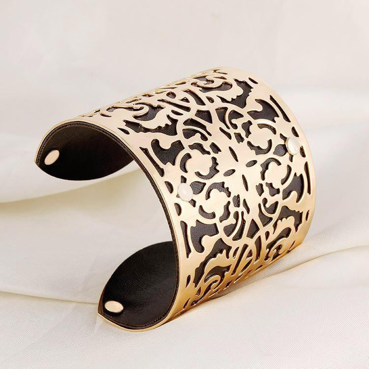 Cuff  Bracelets Gold plated Color plated Punk Style PU Leather