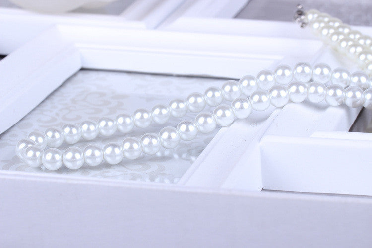 Delicate jewellery Clavicle Chain simulated big pearl necklace