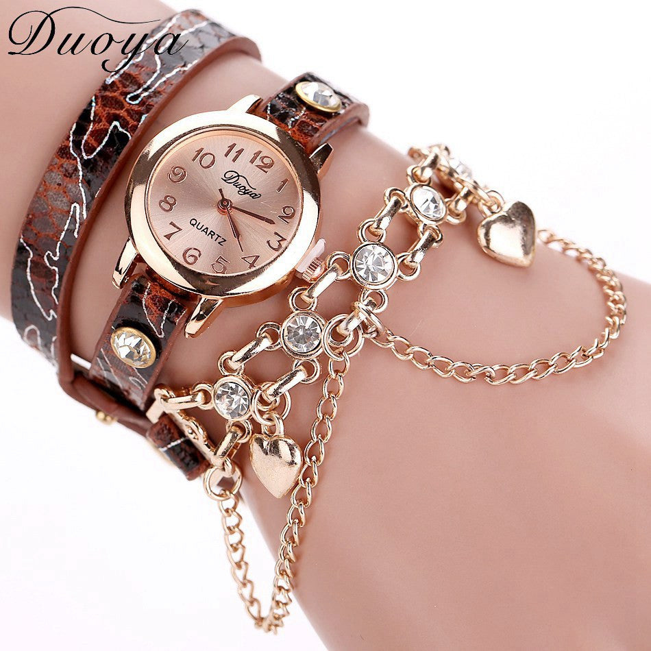 Duoya Brand Watch Women Leopard Luxury Band Bracelet Quartz Braided