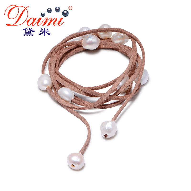 DAIMI 9-10mm Baroque Pearl Leather Bracelet, Pearl Bracelet,  Casual