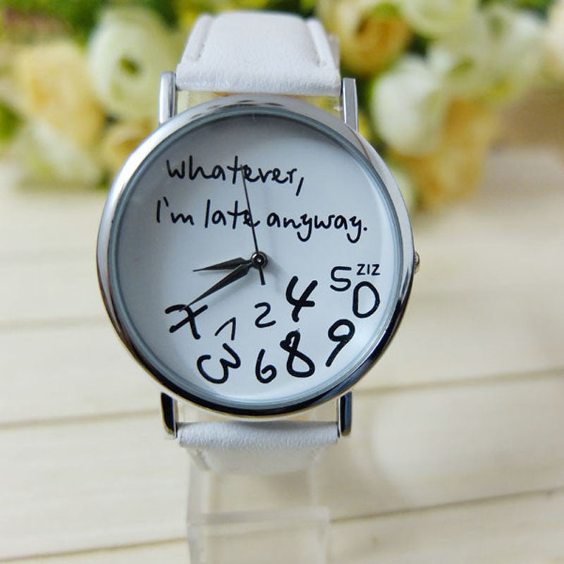 Cheap Hot Women Quartz-Watch I am Late Anyway Letters Wristwatch