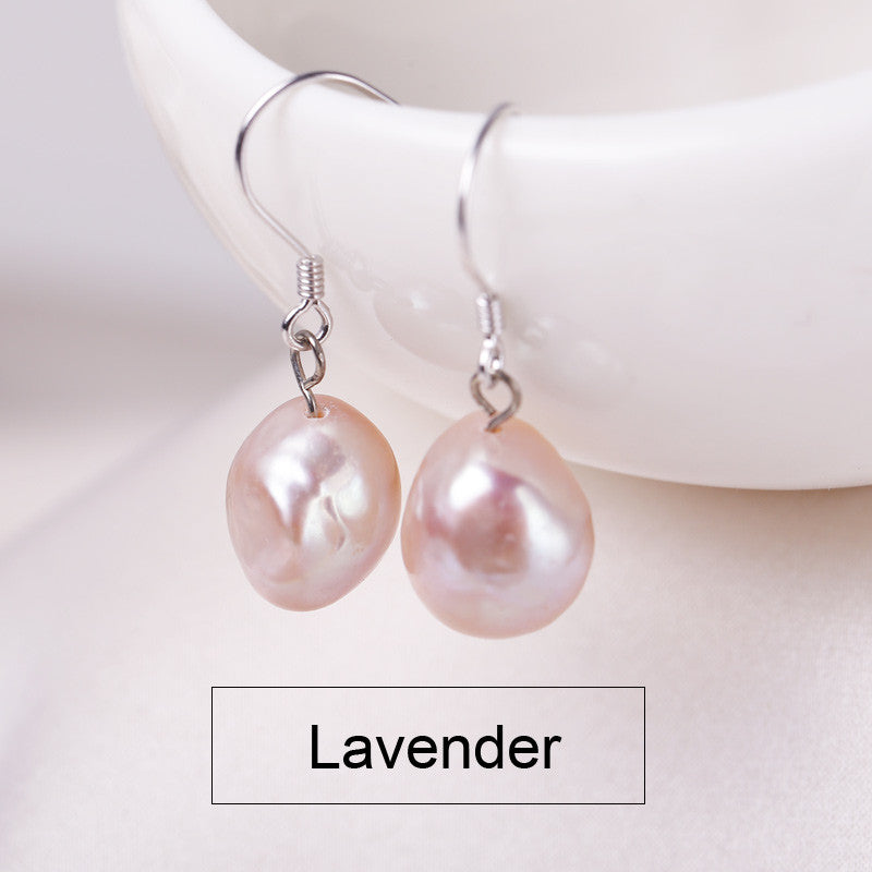 DAIMI 9-10mm Baroque Pearl Earrings Natural Freshwater Pearl 925