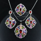 Cubic Zirconia Indian Silver 925 Jewelry Sets For Women Multi