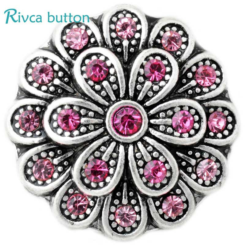 D02864 High Quality Charm Rhinestone Styles Metal Snap Button