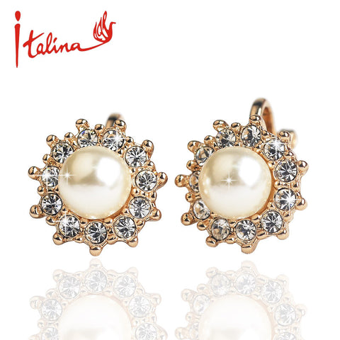 New 2016 CZ Diamond clip earrings for women  Gold Plated Pear Earrings