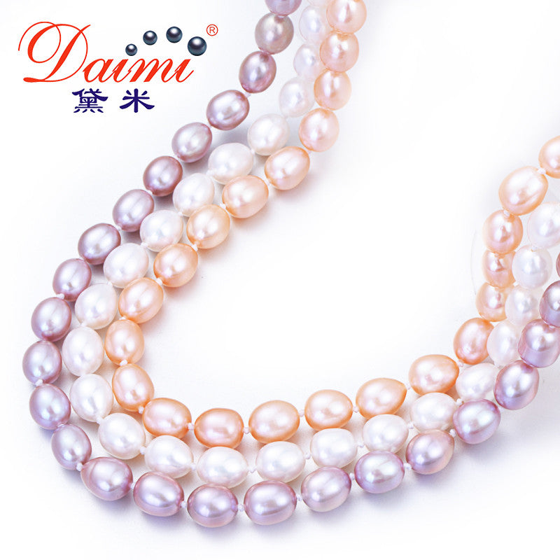 DAIMI Natural Pearl Necklace Casual 7-8mm Rice Pearl Choker