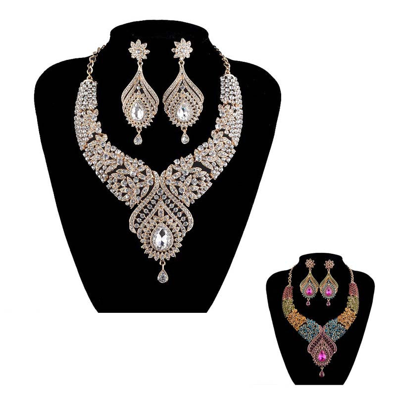 Statement India style Necklace earrings sets Bridal wedding Party