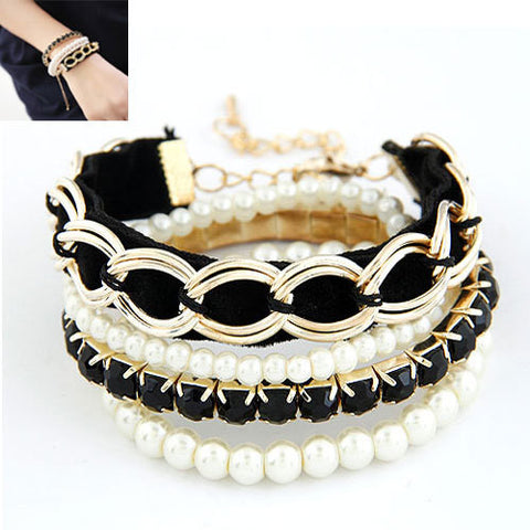Christmas Gifts Fashion Charm Bracelets & Bangles Simulated Pearl Multilayer Bracelet Femme for Women Accessories Pulseira