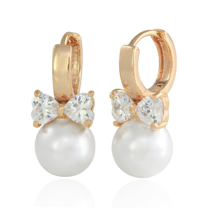 Crystal Heart Pearl Earrings Gold Stud Earrings For Women Pendientes