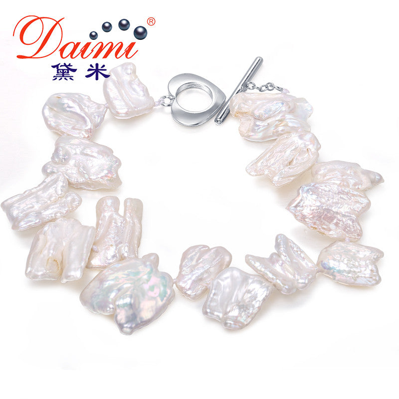DAIMI 11-12mm White Baroque Freshwater Pearl Bracelet Special Gift For