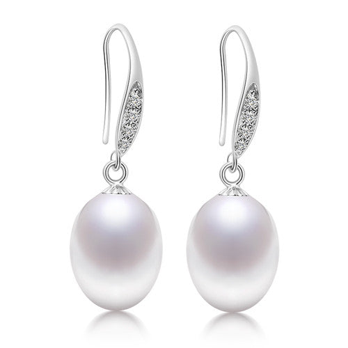 DAIMI 9-10mm Genuine Natural Freshwater Pearl Earrings, Brand New