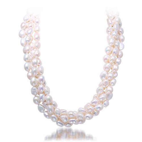 DAIMI 9-10MM Pearl Necklace, Natural Baroque Pearl Statement Necklace,