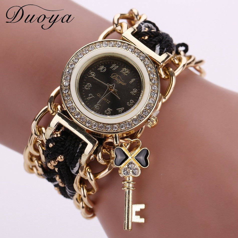 Duoya Brand Watch Women Gold Weave Hand Fashion Ribbon Watches