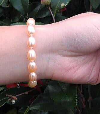 DAIMI Brand Freshwater Pearls Bracelet 7-8 mm Natural White Pearl Oval