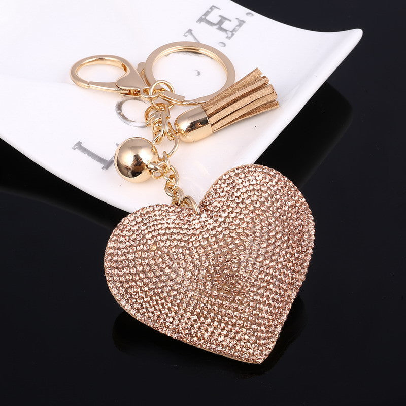 Cute Leather Key Chain for Car Key Ring 6 Colors Heart Pendant