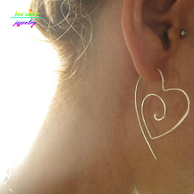 Unique New Tribal Gold/Silver Plated Large Heart Spiral Hoop Earrings