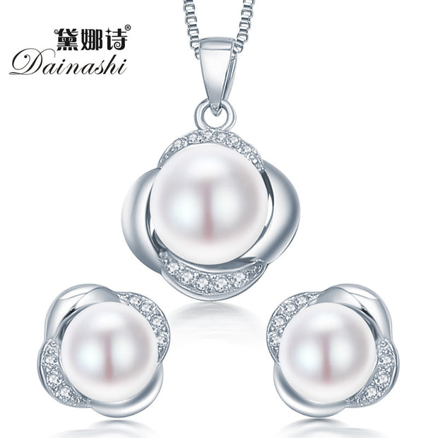 Dainashi 925 sterling silver jewelry set earring/necklace pearl