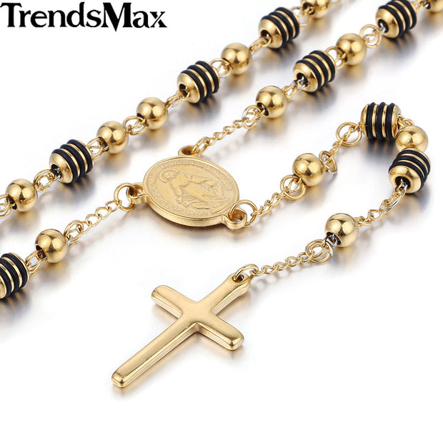 Trendsmax Stainless Steel Bead Chain Jesus Christ Cross Pendant Rosary