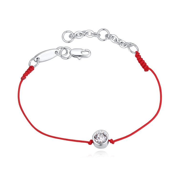 Crystal From Austria jewelry thin red thread string rope Charm