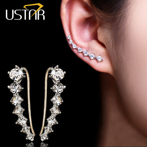Dipper Zircon crystals Stud Earrings for women fashion jewelry earrings female Brincos silver plated Ear Hook top quality
