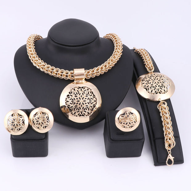 Latest Luxury Big Dubai Gold Plated Jewelry Sets Fashion Nigerian