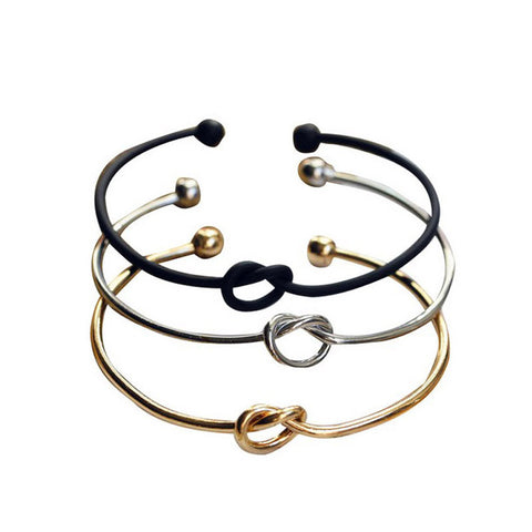 Fashion Simple Wire Knot Bracelet Manchette Femme Silver Black Plated Cuff Bracelets Bangles For Women Metal Bracelet Jewelry