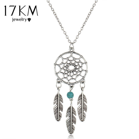 17KM collares Vintage Dream Catcher Leaves collier Pendant Necklace kettingen Silver Color Girl Bib Chokers Pendants & Necklaces