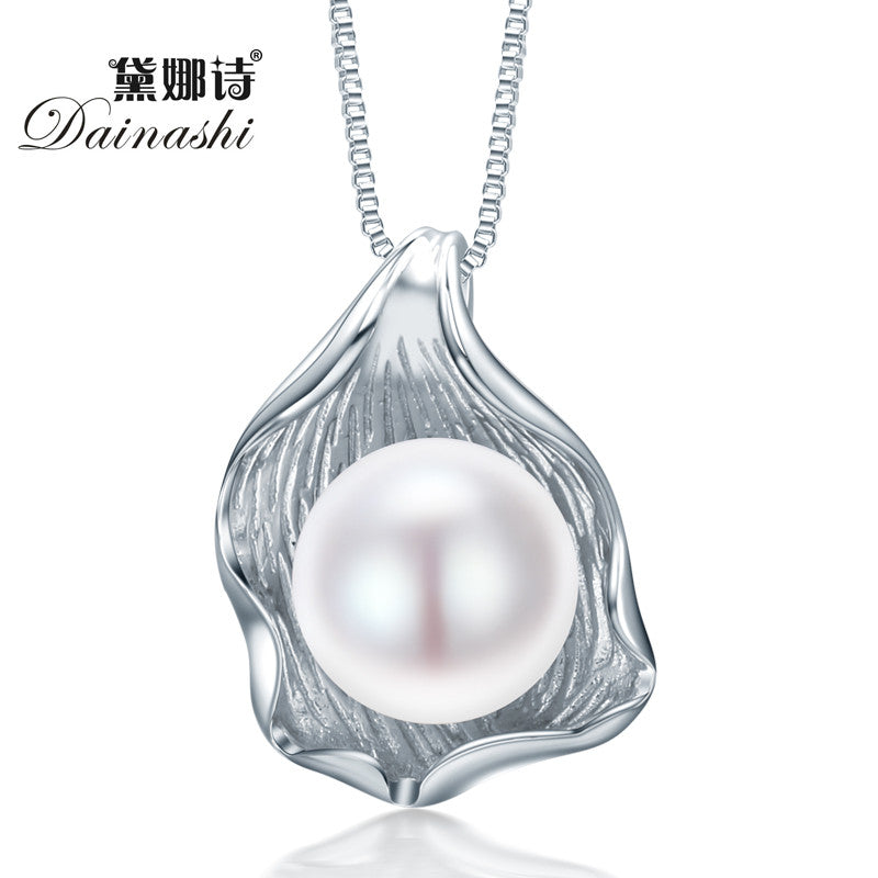 Dainashi Shell Shape Natural Freshwater Pearl Jewelry Pendent Necklace