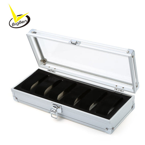 New Arrivals Watch Box 6 Grid Insert Slots Jewelry Watches Display Storage Box Case Aluminium Watch Box Jewelry Decoration Case