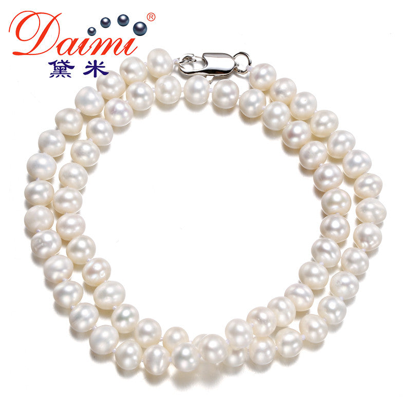 [DAIMI] 6-7MM Natural Freshwater White Pearl Necklace Single