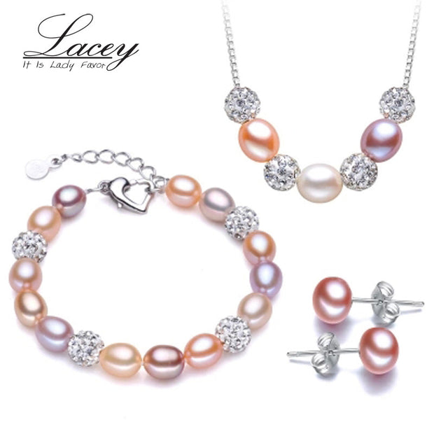 Wedding freshwater pearl jewelry sets women,multi natural pearl