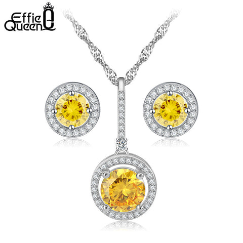 Effie Queen Items Combining a Bridal Jewelry Sets for Women Yellow Round Zircon Necklace Earrings Stud Set for Party DAS020