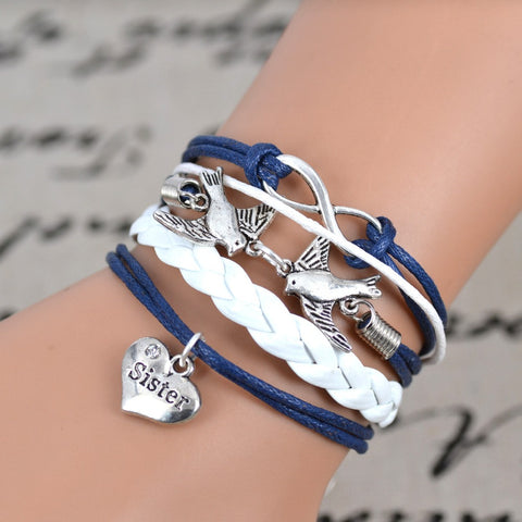 Free shipping 2016 Fashion Infinity love Birds sister Charm Bracelet Handwoven leather Bracelet Women Best Gift Christmas Gift