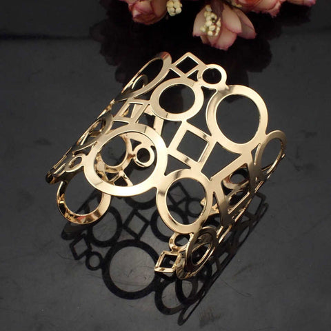 Danfosi Hot Geometric Cuff Bangle Women Accessories Gold Plated Hollow Design Alloy Charm Bracelet Statement Jewelry 2 Colors