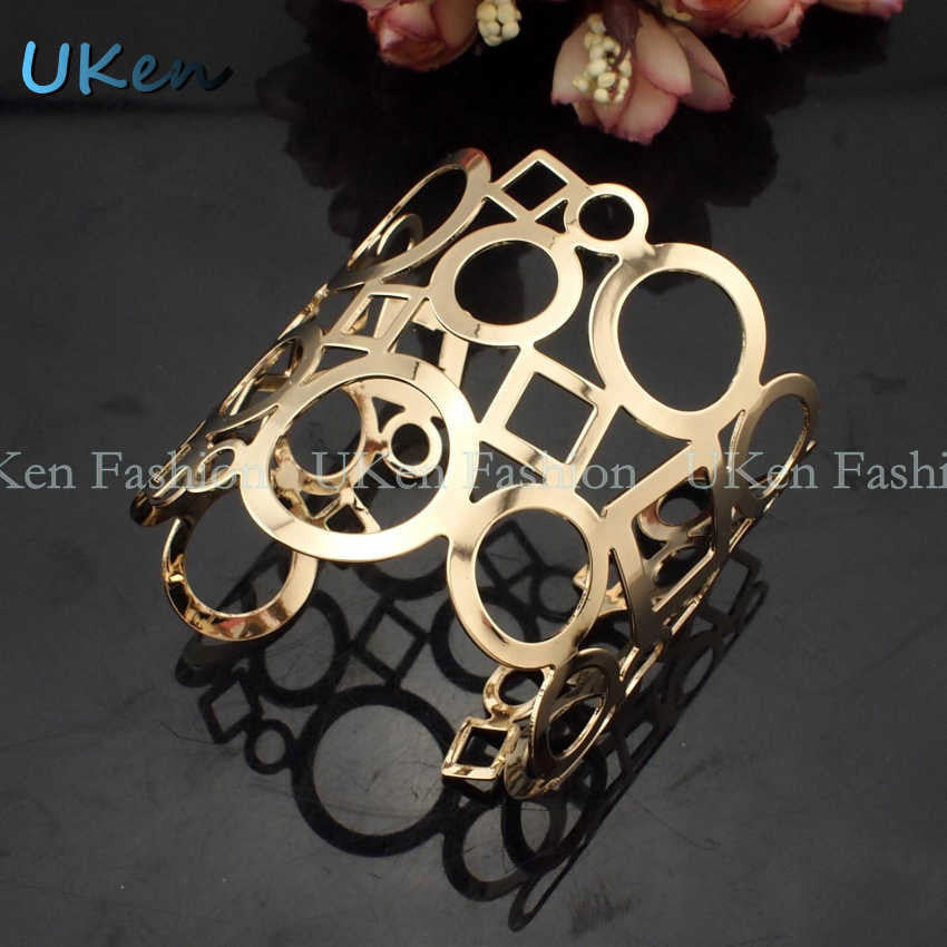 Danfosi Hot Geometric Cuff Bangle Women Accessories Gold Plated Hollow