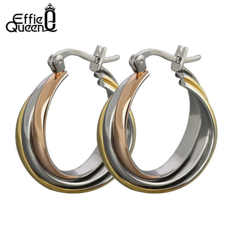 Effie Queen Free Shipping Fashion Jewelry There Color Plated Twist Circle Stainless Steel Women's Hoop Earrings DTE15