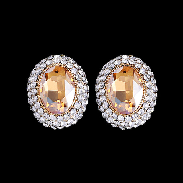 Summer Style Round Crystal Clip Earrings no Pierced Fashion Gold