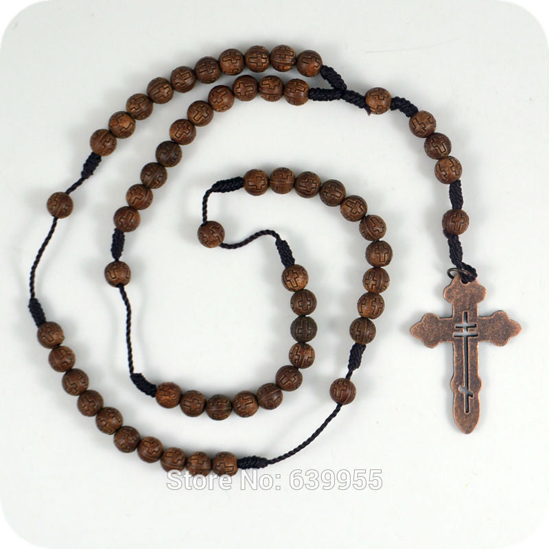 Dark Brown Rosary Beads Orthodox Cross Alloy Pendant Necklace