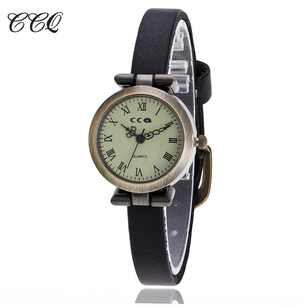 CCQ Luxury Brand Roma Retro Vintage Cow Leather Bracelet Watch Women