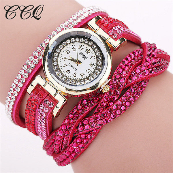 CCQ Luxury Rhinestone Long Belt Braided Bracelet Watch Women Fashion